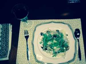 pasta with fresh herbs and mushrooms